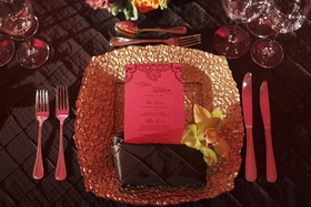 Brown linens and gold-textured charger plate