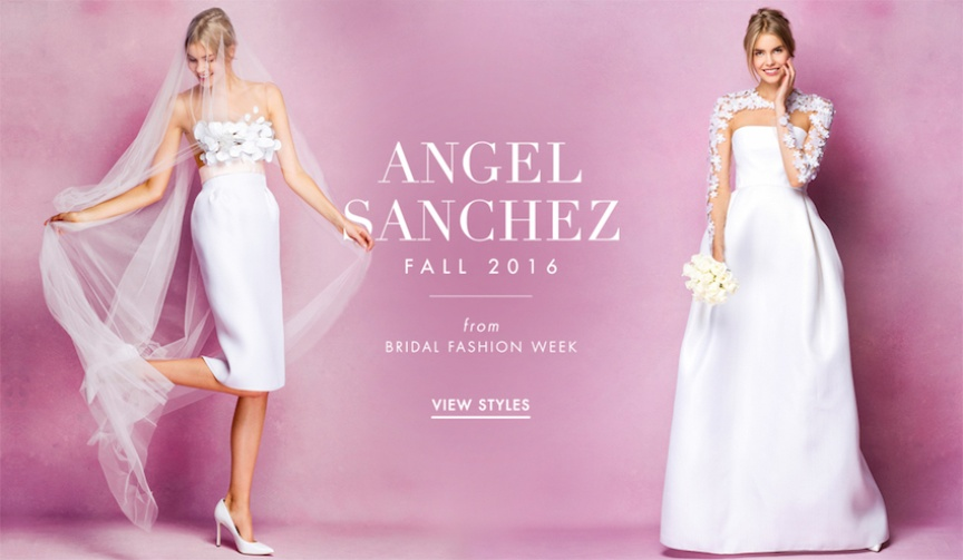 Short wedding dresses and ball gowns by Angel Sanchez Bridal Fall 2016