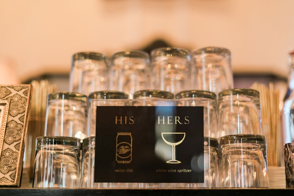 his miller lite and hers white wine spritzer black and gold with glassware sign