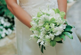 Snowy bridal bouquet with greenery