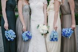 bridesmaid bouquets of blue flowers
