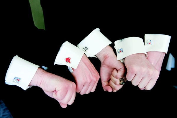 Groomsmen with New York Yankees cuff links and the Boston Red Sox cufflinks