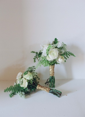 Green and white flower bouquet with glitter wrap