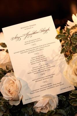 Wedding dinner for bride and groom wild mushroom soup, autumn greens, roasted halibut filet of beef