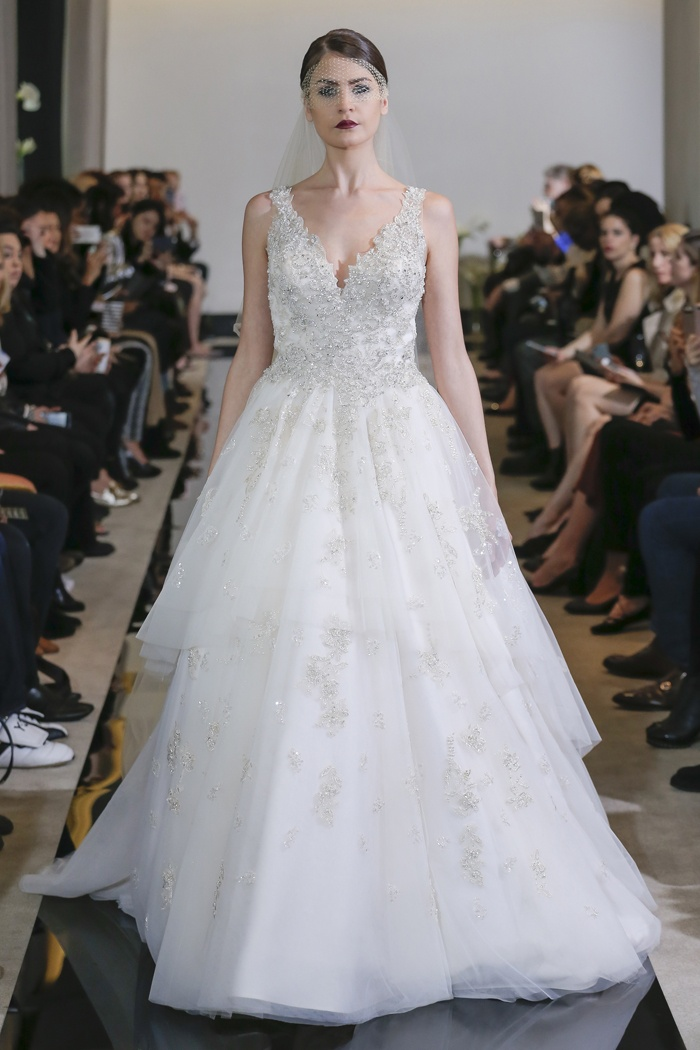 Wedding Dresses Photos - Tiered Tulle Ball Gown by Justin Alexander ...