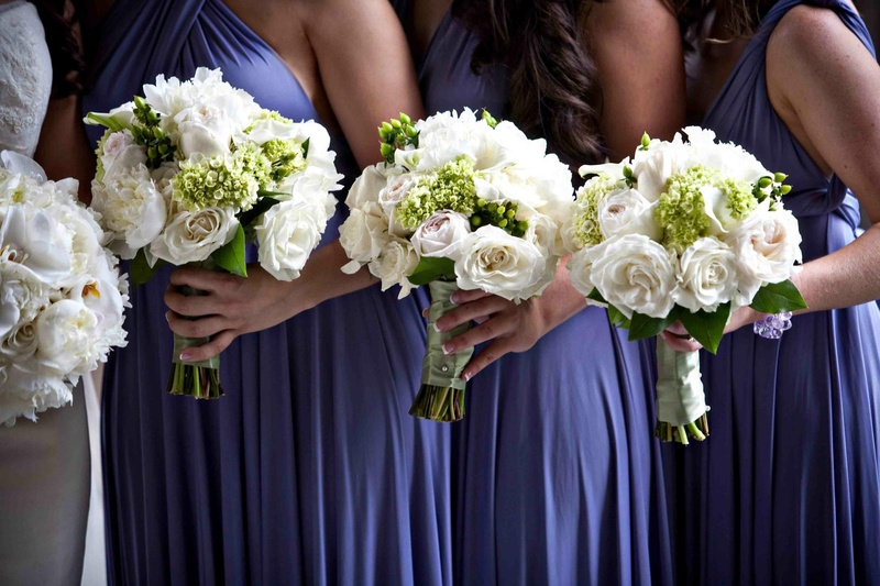 Bouquets photos bridesmaids in purple holding white bouquets white bridesmaid bouquets mightylinksfo