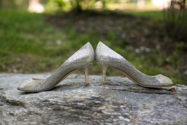 low silver shimmering heels bride shiny wedding