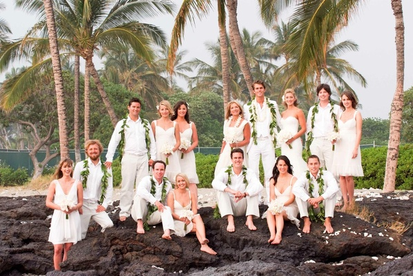 All White Destination Beach Wedding In Hawaii Bridesmaids And Groomsmen Ivory Clothes