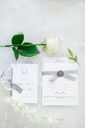 invitation suite for destination wedding, silver wax seal, silver ribbon
