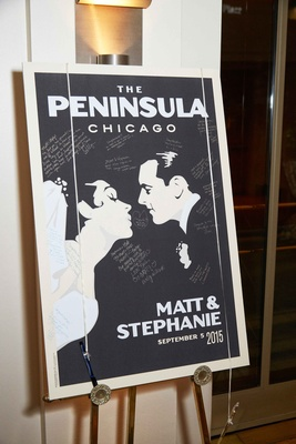 Vintage inspired movie poster guest book alternative at wedding cocktail hour