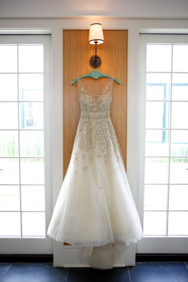 liancarlo champagne and white wedding gown dress v neck illusion top embellishments