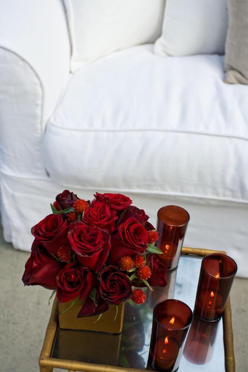 Reception Décor Photos - Lounge Area Red Centerpiece - Inside Weddings