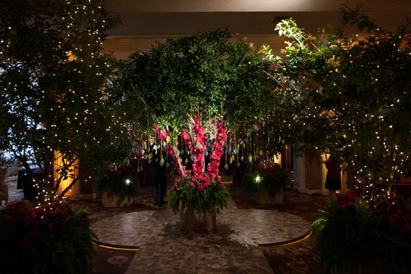 Catholic amp hindu ceremonies reception with enchanted forest trees for reception enchanted garden theme indoor wedding reception junglespirit Gallery
