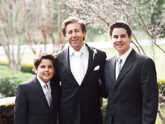 Bill Starkov and his sons in wedding attire