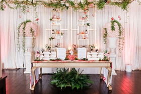 bridal shower activities fragrance class make your own perfume, greenery decorations