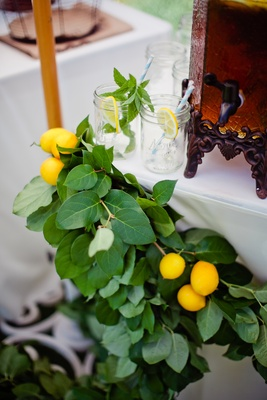 Fresh lemons and lemon leaf on white table