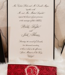 wedding invitation elizabeth grace white stationery black border calligraphy red belly band silver