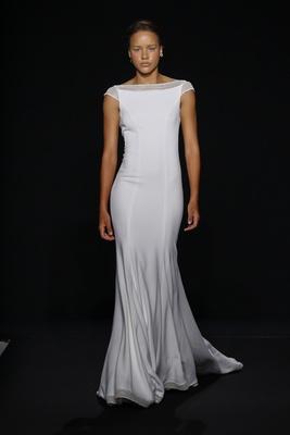 Mark Zunino for Kleinfeld 2016 bateau neckline wedding dress in silk crepe