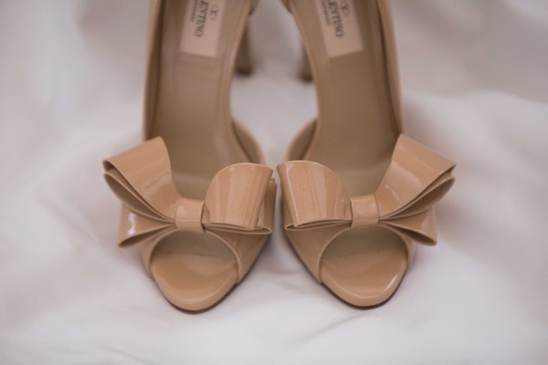 Valentino nude tan peep toe pumps wedding day shoes bow details at toe