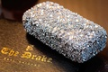 crystal detailed bridal purse with floral patterns