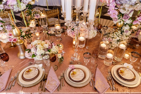 Wedding inspiration spring tablescape purple napkin gold design and name instead of place card
