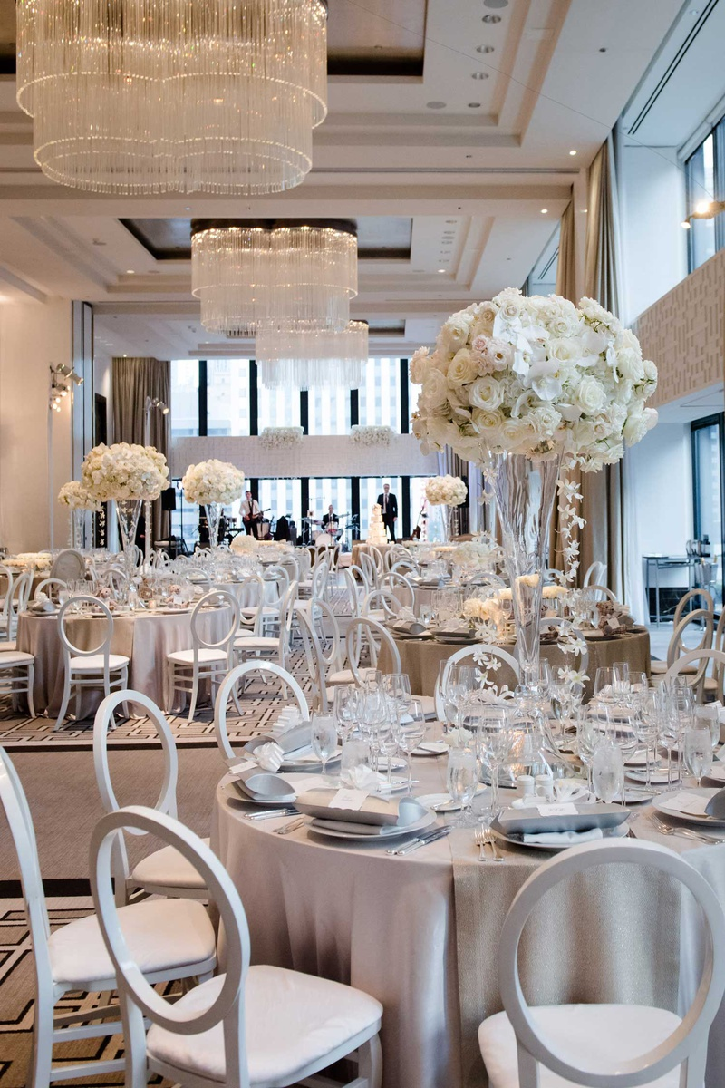 wedding reception decor chicago ballroom the langham light grey silver linens white flowers