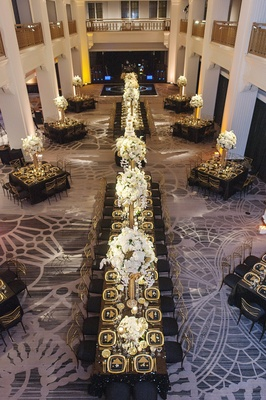 renaissance hotel cincinnati wedding with black, gold, and ivory decor