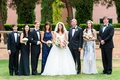 Bride in Zuhair Murad wedding dress ball gown Kleinfeld Bridal with family on wedding day