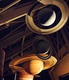 Wedding with suspended models of saturn at Cafe Galileo's, Adler Planetarium