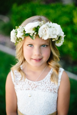 blonde flower girl with white lace dress, flower crown with white roses