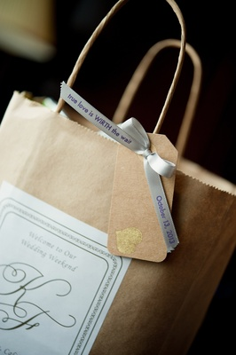Paper bag with cute tag and white sticker