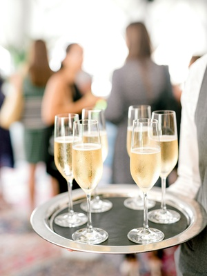 wedding event bridal shower champagne sparkling wine on silver tray passed drinks