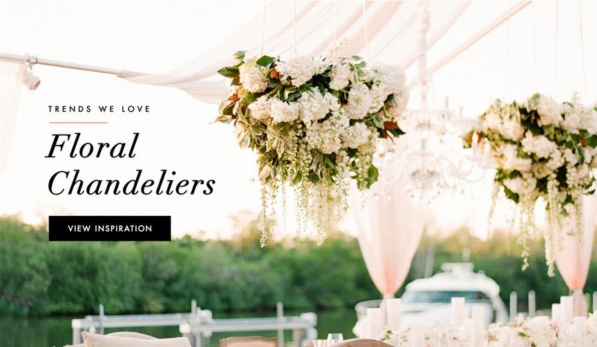 Fresh flower chandelier wedding decorations