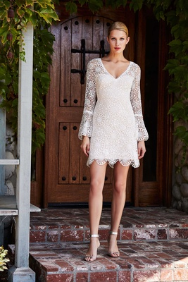 Tadashi Shoji Fall 2018 Cotton lace mini dress with long bell sleeves
