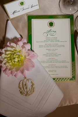 Gold monogrammed napkin and textured menu card
