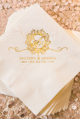 Napkins with gold monogram and wedding date cocktail beverage napkins