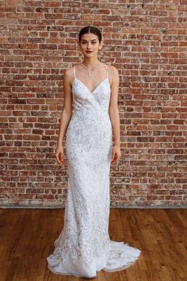 0c08a89aa0d David s Bridal spring 2018 presentation v neck silver embroidery sequin wedding  dress