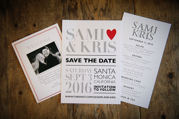 Welcome card with engagement photo save the date with type and heart and similar menu