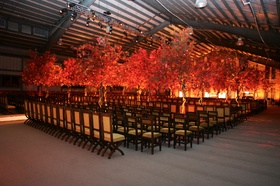 Wedding ceremony seating decorated with handmade trees in fall colors