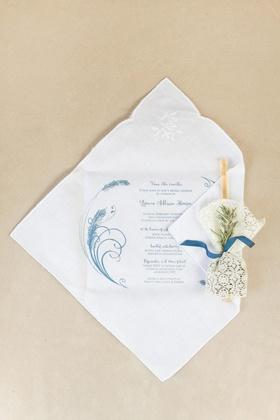Invitations printed on linen handkerchiefs