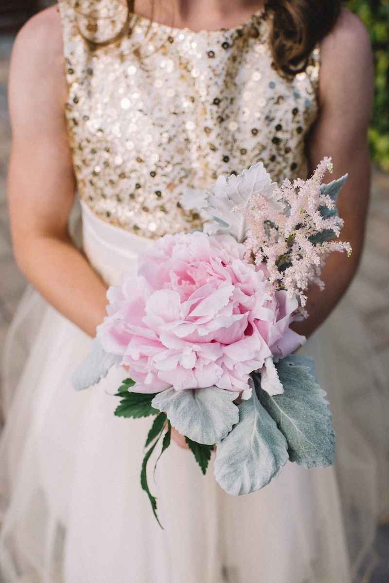Flower girls ring bearers photos pink peony flower girl bouquet flower girl in gold and white dress carries pink peony lambs ear dusty miller izmirmasajfo