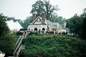 backyard reception at historic brick home