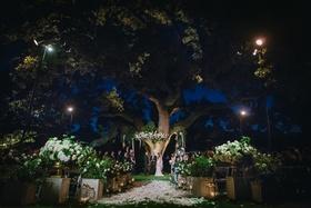 jewish wedding at night after sunset, outdoor nighttime wedding ceremony