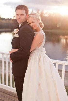 Keri Lynn Pratt with husband on wedding day in NH