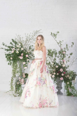 4a1a198f3 Charlotte Balbier Posy two piece crop top strapless wedding dress pink  flower print skirt lace trim.