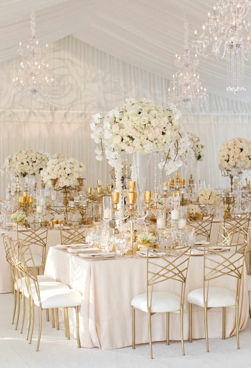 Gold Chameleon chairs and candelabra at white reception