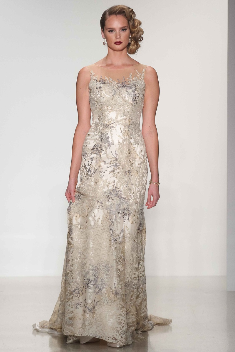 Matthew Christopher 2016 gold and silver embroidered wedding dress