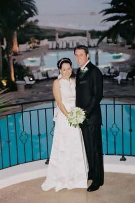 Newlyweds at Bacara Resort & Spa pools