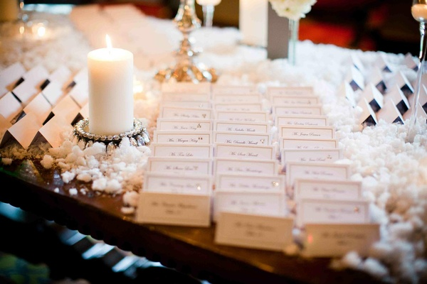 Seating cards on snow-covered table