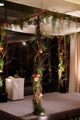 Jewish wedding ceremony Carol Leifer Lori Wolf curly willow branch chuppah greenery orange flowers